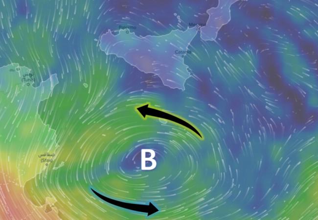 Il vortice di bassa pressione e le correnti in alla quota di circa 5450 metri domenica mattina