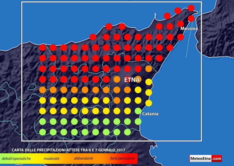 Una stima di massima delle precipitazioni attese in Sicilia nordorientale.